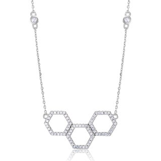 Sterling Silver Triple Octagon Cubic Zirconia Necklace