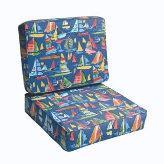 Blue Sailboats 2-piece Indoor/Outdoor Cushion Set
