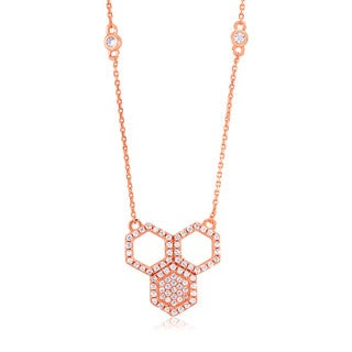 Rose Goldplated Silver Cubic Zirconia Honeycomb Necklace