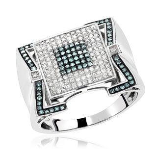 Luxurman 10k Gold 7/8ct TDW Blue Diamond Men's Ring (SI1-SI2)