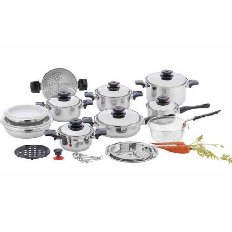 """Chef's Secret 28 Piece 12-Element T304 Stainless Steel """"Waterless"""" Cookware"""