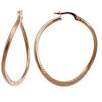 14k Yellow Gold Italian Oval Twist Hoop Earrings
