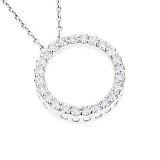 Luxurman 18k Gold 5/8ct TDW Round Diamond Circle of Love Pendant (G-H, SI1-SI2)