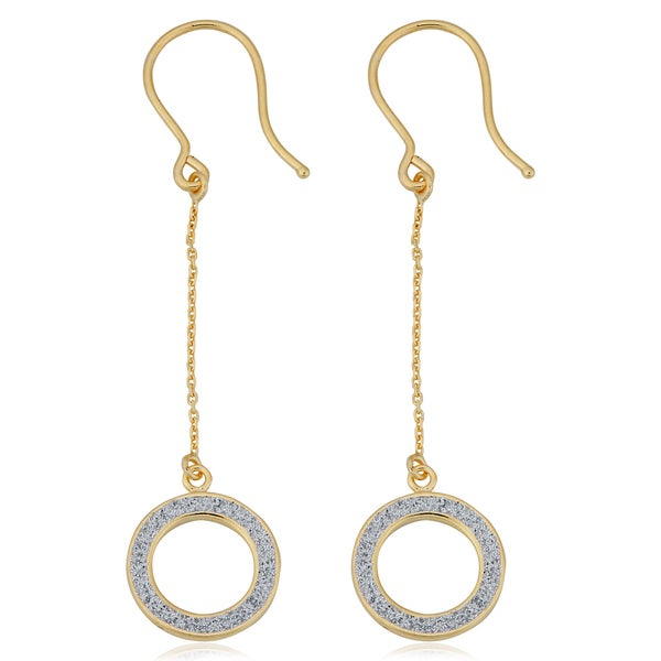 Fremada Italian 14k Yellow Gold with Glittered White Enamel Circle Dangle Earrings