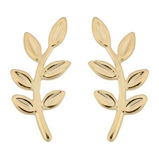Fremada Italian 14k Yellow Gold Olive Branch Stud Earrings