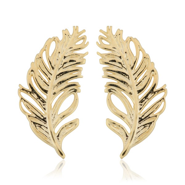 14K Yellow Gold Feather Leaf Design Climber Earrings