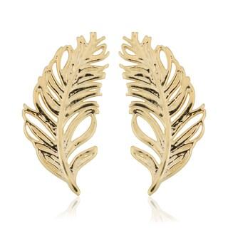 Fremada Italian 14k Yellow Gold Feather Stud Earrings
