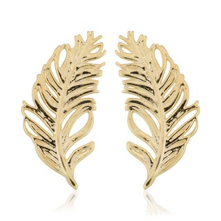 Fremada Italian 14k Yellow Gold Feather Stud Earrings