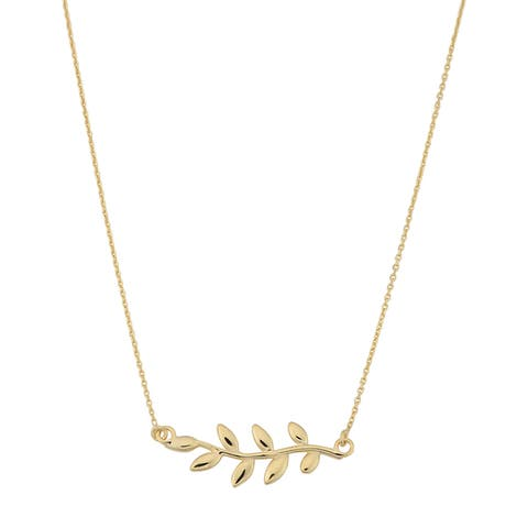 Fremada Italian 14k Yellow Gold Sideway Olive Branch Necklace (18 inches)