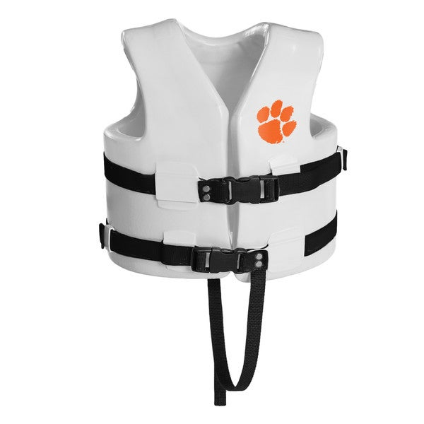 Texas Rec USCG Approved Child Water Vest White Finish Clemson Tigers