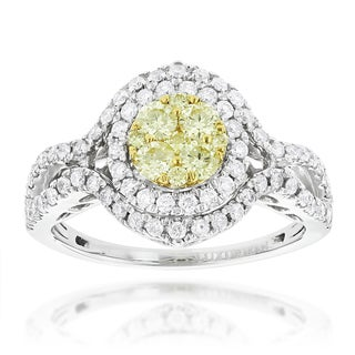 Luxurman 14k Gold 1 1/6ct TDW White Yellow Diamond Engagement Ring