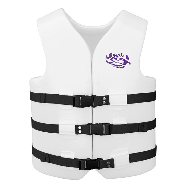 Texas Rec USCG Approved Adult Water Vest White Finish LSU Tigers