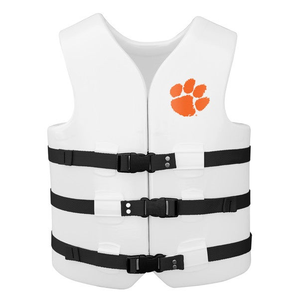Texas Rec USCG Approved Adult Water Vest White Finish Clemson Tigers