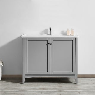 Asti Grey White Carrara Marble 40 Inch Single Vanity