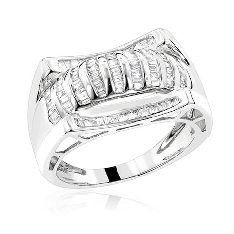 Luxurman 14k Gold 1 1/4ct TDW Men's Baguette Diamond Ring