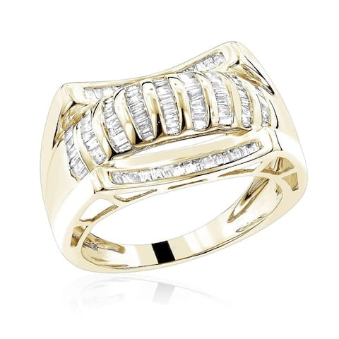Luxurman 14k Gold 1 1/4ct TDW Men's Baguette Diamond Ring
