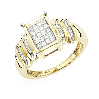 Luxurman 14k Gold 5/8ct TDW Round Princess-cut Diamond Ring (H-I, SI1-SI2)