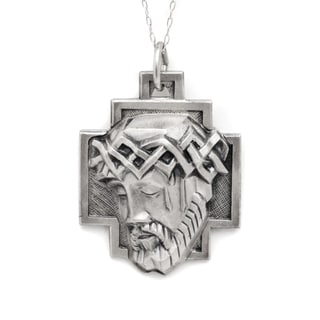 Pori Sterling Silver 3D Jesus Head on Cross Medallion Necklace