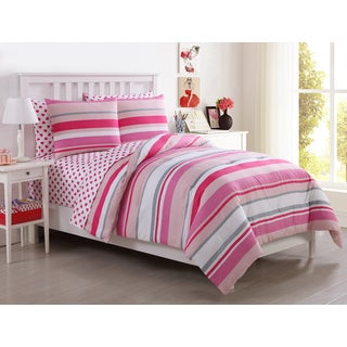 VCNY Montana Pink and White Cabana Stripe 5 & 7-piece Bed in a Bag