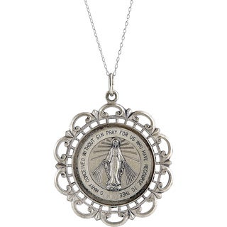 Pori Sterling Silver Circle Virgin Mary Medallion Necklace