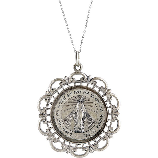 Shop Pori Sterling Silver Circle Virgin Mary Medallion