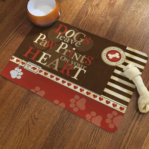 Laural Home Dogs Leave Paw Prints on Your Heart Pet Mat