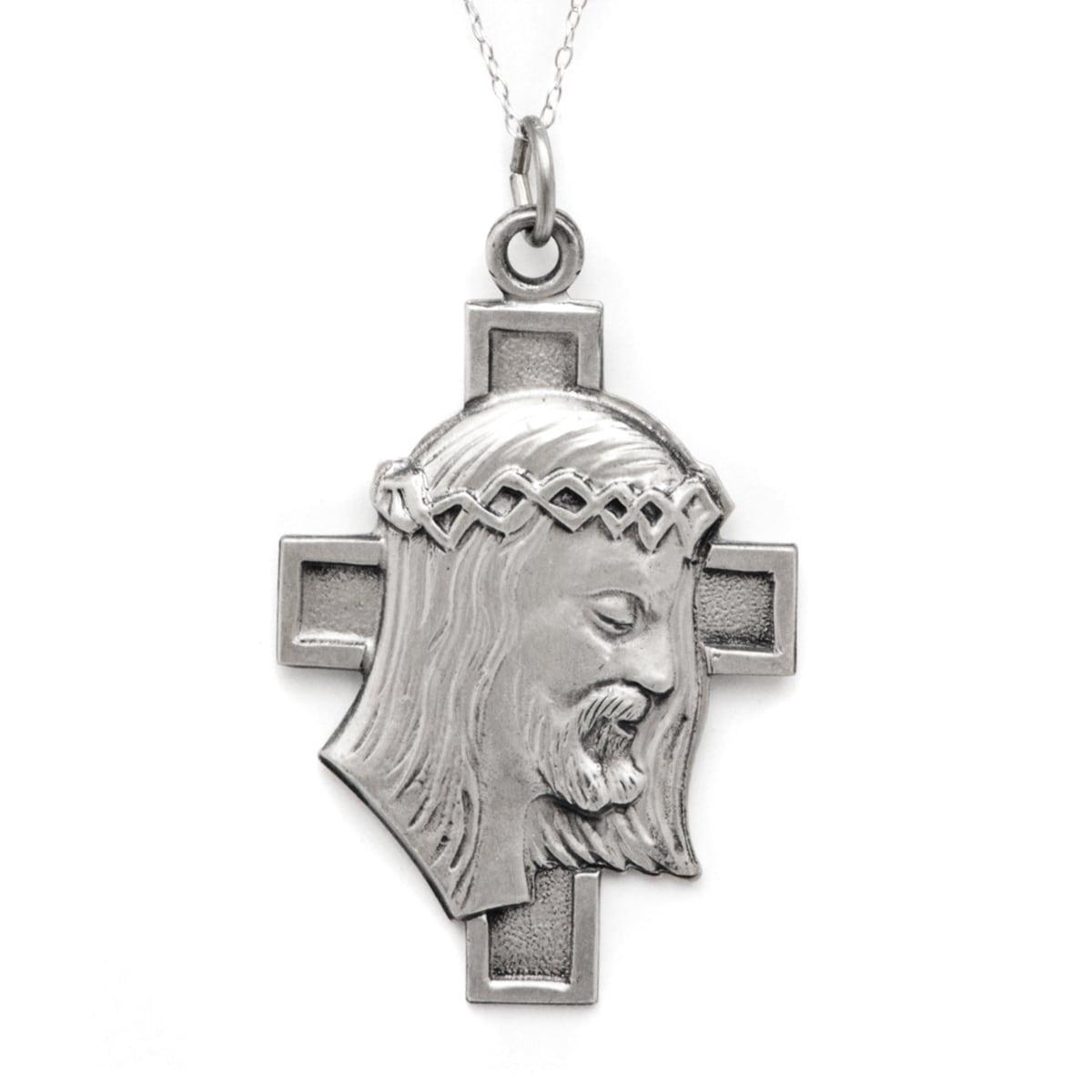 Pori Sterling Silver Lareg Jesus Head on Cross Medallion ...