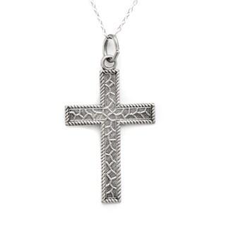 Pori Sterling Silver Crazed Cross Medallion Necklace