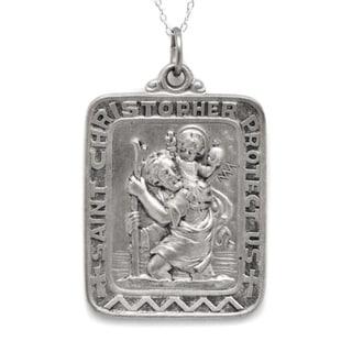 Pori Sterling Silver St Christopher Large Rectangle Medallion Necklace