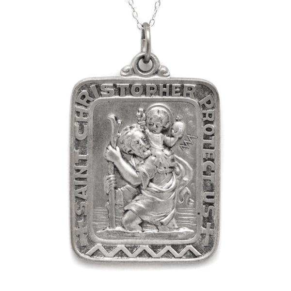 Rectangular Sterling Silver St Christopher Pendant and 18