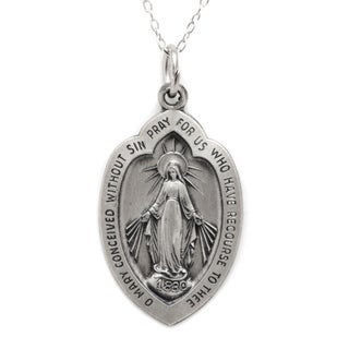 Pori Sterling Silver 26mm Miraculous Virgin Mary Medallion Necklace