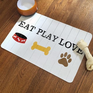 """Laural Home """"Eat Play Love"""" Icons Pet Mat"""