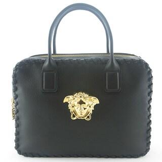 Versace Signature Medusa Lock Leather Handbag