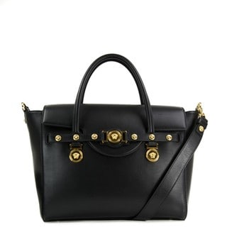 Versace Signature Lock Nero Leather Handbag
