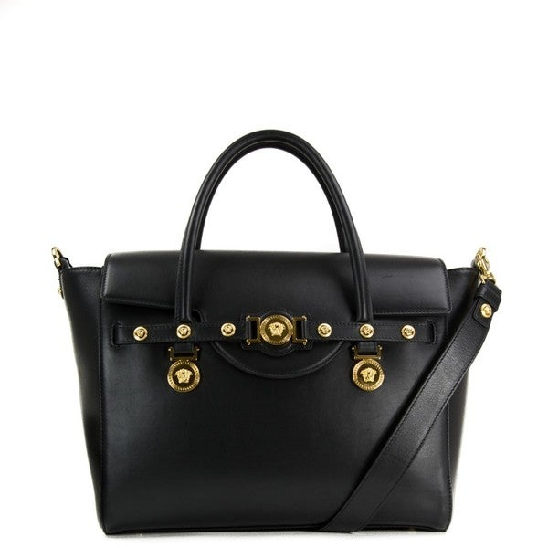 Shop Versace Signature Lock Nero Leather Handbag - Free Shipping ... 393fdf913678b