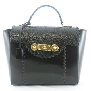 Versace Signature Lock Leather Handbag