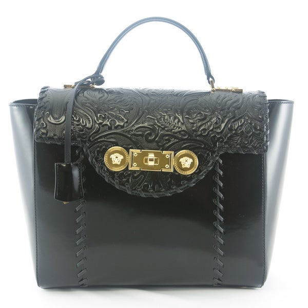 Shop Versace Signature Lock Leather Handbag - Free Shipping Today ... b6e1c5bccfcf4