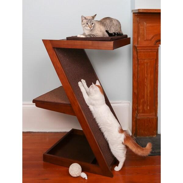 Shop The Refined Feline Zen Brown Wood Cat Scratcher Free Shipping