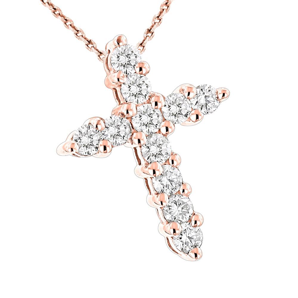 "14K White Gold Finish 1.00 Ct Round Cut Diamond Cross Pendant W//18/"" Chain"