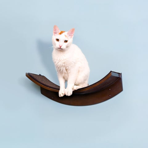 The Refined Feline Lotus Leaf Wood Cat Shelf