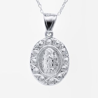 Pori Sterling Silver Fancy High Polish Miraculous 1 side Jesus Sacred Heart 1 side Guadalupe Double Sided Medalion Necklace