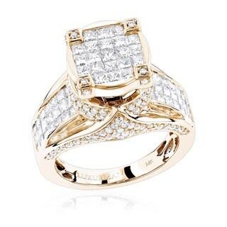 Luxurman 14k Gold 3ct TDW Unique Pave Diamond Engagement Ring (F-G, VS1-VS2)