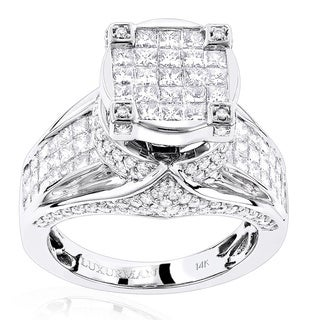 Luxurman 14k White or Yellow Gold 3ct TDW Unique Massive Diamond Engagement Ring (F-G, VS1-VS2)