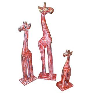 Handmade Crackle Orange Wash Wood Giraffe, Set of 3 (Indonesia)