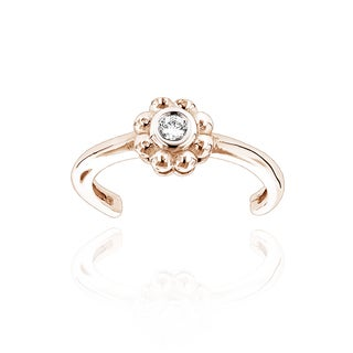 Luxurman Adjustable 14k Gold Diamond Accent Flower Toe Ring (H-I, SI1-SI2)