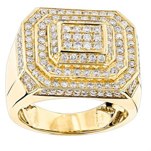 Luxurman 14k Gold 2 5/8ct TDW Men's Diamond Ring