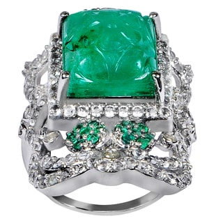 Orchid Jewelry One of A Kind 925 Sterling Silver Ring 12.57ct TGW Genuine Diamond, Emerald & White Topaz