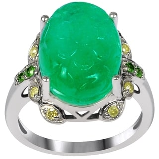 Orchid Jewelry One of A Kind 925 Sterling Silver Ring 10ct TGW Genuine Diamond Emerald & Tsavorite