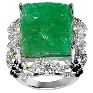 Orchid Jewelry One of A Kind 925 Sterling Silver Ring 28.31ct TGW Genuine Emerald Diamond, Sapphire & White Topaz