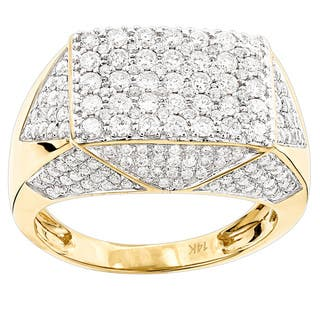 Luxurman 14k Yellow Gold Men's 2 3/4ct TDW Diamond Pinky Ring|https://ak1.ostkcdn.com/images/products/11717416/P18638300.jpg?impolicy=medium